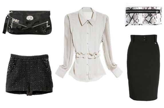 Koszula i spodenki H&M; spódnica i czarna kopertówka Simple; kopertówka w wężową skórę Stefanel