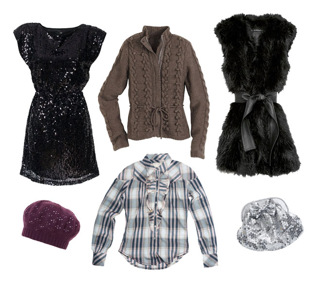Sukienka, kamizelka, portfelik - H&M; sweter - Orsay; koszula - Wrangler; beret - s.Oliver